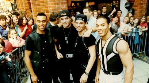 Pop group Worlds Apart at the Virgin Megastore opening in 1993 in Norwich, Norfolk.