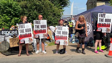 Protesters at MBR at Wyton.