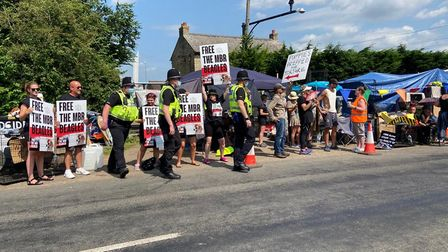 Hundreds of people turned up for the protest at MBR at Wyton.
