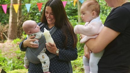 Mothers and babies taking part in the Tree babies group at Wild Touch forest school.