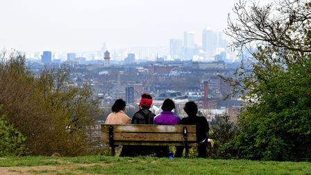 The City viewed from the top of Parliament Hill, Hampstead Heath