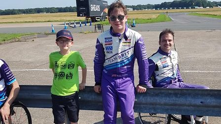 Cory Chapman, from Mundesley, with Bobby Trundley and Aaron Morganat Team BRIT's headquarters.