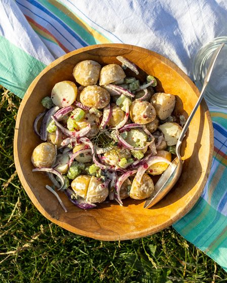Wasabi new potato salad topped with beetroot and apple infused Dorset sea salt