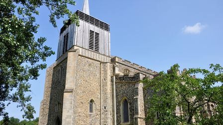 Bildeston's St Mary Magdalen Church with its wooden tower which replaced the original after it fell down in 1975.