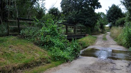 At Wagger Farm, the Brett becomes a splash (ford) with a convenient footbridge.