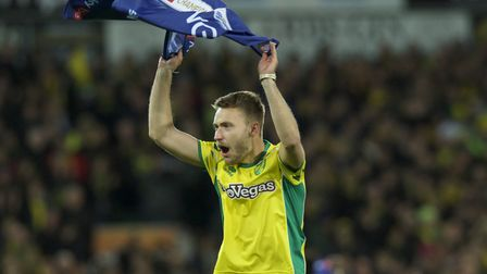 Tom Trybull of Norwich City celebrates after winning promotion to the Premiership in the Sky Bet Cha