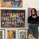 Jacob Venit with his artwork at the Royal Academy