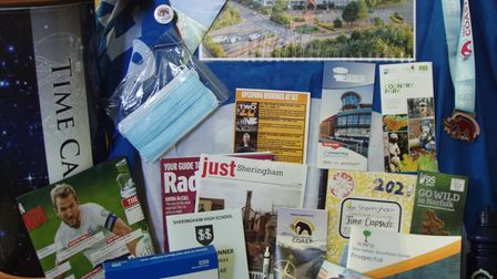 Some of the items included in the time capsule at The Reef, the new pool and leisure centre in Sheringham.