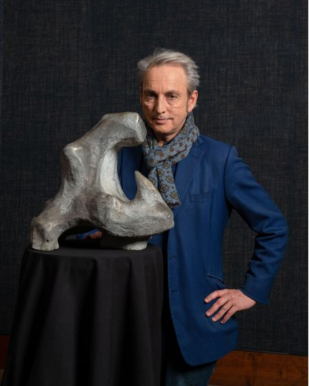 Fake or Fortune? presenterPhilip Mould with a sculpture, possibly by Henry Moore, in the first episode of the new series.