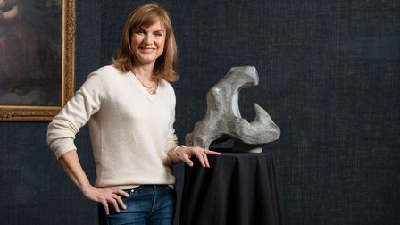 Fake or Fortune? presenter Fiona Brucewith a sculpture, possibly by Henry Moore.