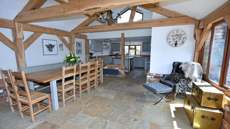 One of the striking beamed interiors of the property in Henley Road, on the market with Fine & Country