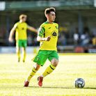 New Canaries signing Billy Gilmour on the ball during Norwich City's friendly at King's Lynn Town