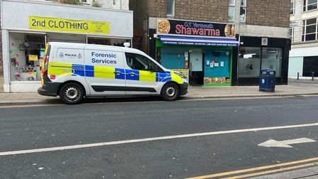 Forensic Services outside 2nd Clothing which was burgled on Wednesday.