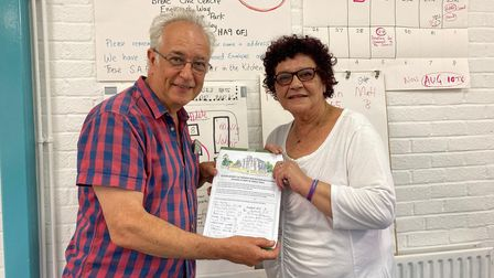 Tim Danby and Heather La'Frenais, secretary and chair of the Marley Walk Residents' Association