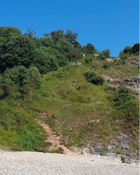 Taking the coastal path towards Elberry Cove involves this steep ascent