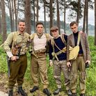 From left to right: Matt Willis, Ed Westwick, Sam Gittins and Jackson Bews on set of the Wolves Of War.