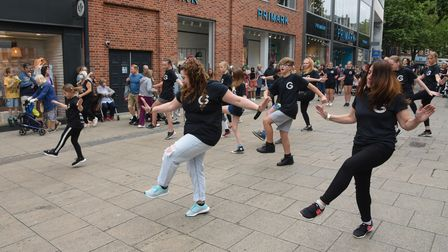 The Garage doing a flash mob on Gentleman's Walk in Norwich.