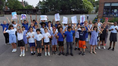 Maloree Junior and Infant school pupils wish Tom Dean good luck in the Tokyo Olympics