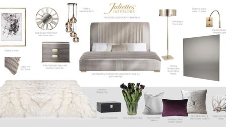 Accessory mood board used by Juliettes Interiors in Chelsea to design a bedroom.