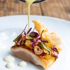 Artic char, potted shrimps, cauliflower, curried mead veloute made by Ryan Blackburn