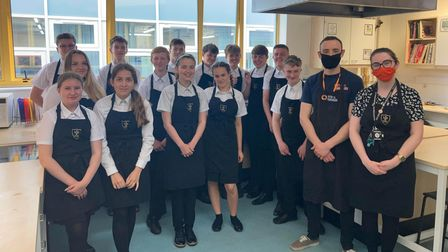 Year 10 GCSE food students at Forest Hall School in Stansted, Essex who watched a fishmonger giving a demonstration.