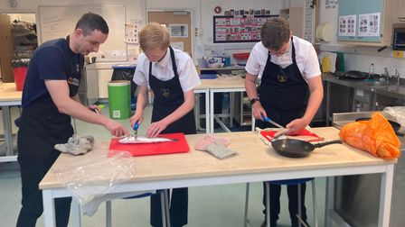 Year 10 GCSE food students at Forest Hall School in Stansted, Essex, had a lesson on how to cook fish