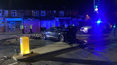 The Audi was left wrecked following the crash in Ipswich