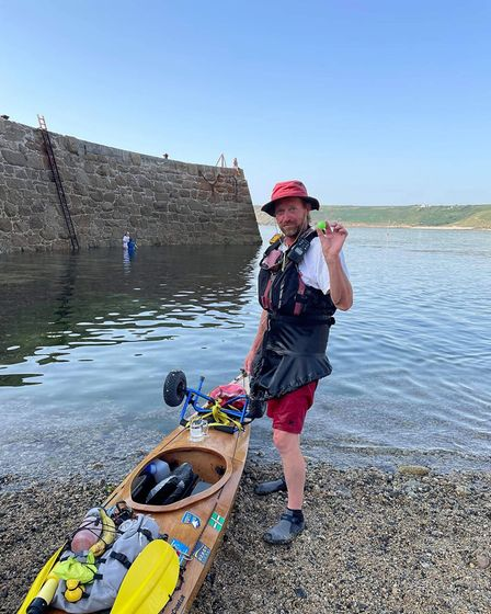At the finish! Roy Beal from Seaton, Devon, who kayaked from John O' Groats to Land's End