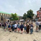 Queues build outside St Andrew's Hall in Norwich.