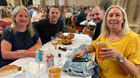 From left to right, Kerry Lyme and Christopher Raynor with Ross Cookand Wendy Raynor, enjoying the Sausage and Cider Fest.