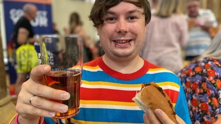 Craig Mackie from Norwich was among those tucking into cider and sausage at the festival at St Andrew's Hall on Saturday.