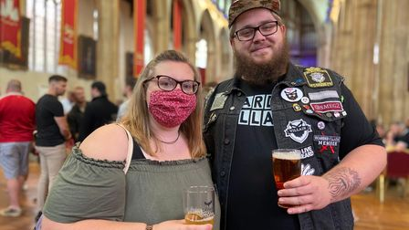 Megan Long and Luke Fox from Attleborough, pictured at the Sausage and Cider Fest in Norwich.
