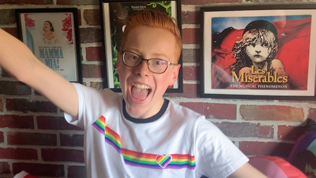 Korben White, 15, sending his message of support to Norwich Pride for the virtual march