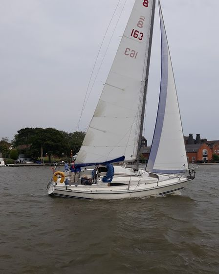 A Pegasus yacht sailing on Oulton Broad on Saturday (July 24).