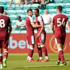 West Ham United's Armstrong Okoflex (centre right) celebrates scoring their side's sixth goal of the