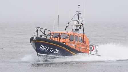 The RNLI relief lifeboat Bridie O'Shea responded to reports that people were stranded on a sandspit at Pakefield.