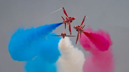 The Red Arrows display team inactionat theDuxford Summer Air Show at IWM Duxford.