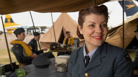 Members of living history group, Spirit of Britain, attendthe Duxford Summer Air Show at IWM Duxford.