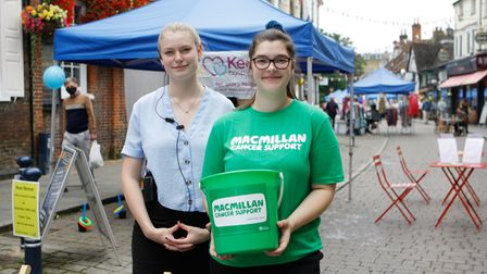 Abbey and Molly at The Sun Hotel collecting donations for Macmillan Cancer Support at Bucklersbury and Sun Street Day 2021