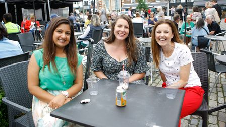 Bucklesbury and Sun Street Day 2021: Nisha, Michelle and Louisa enjoy refreshments in Hitchin's Market Place