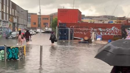 Callum Winn took this footage of the flooding in Hackney Wick