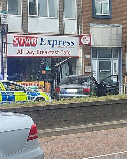 A car has gone into Star Express in St Matthew's Street