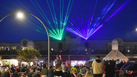 The spectacular laser light display at Claremont Pier in Lowestoft.