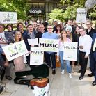 Campaigners gather outside YouTube's offices in Kings Cross, London as part of the #LoveMusic campai
