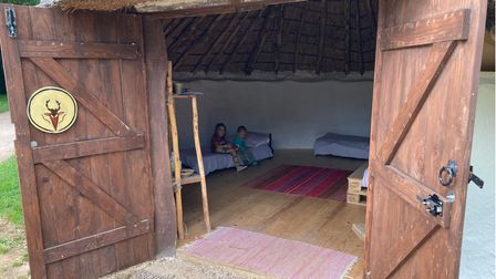 Inside one of the roundhouses at Celtic Harmony.