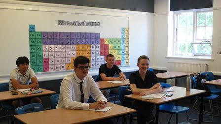 Students at Joyce Frankland Academy, Newport, Essex in a classroom sitting at desks