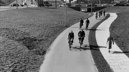 The cycle path in Six Hills Way in 1958