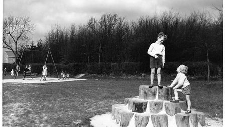 The children's playground at Leaves Spring in 1956