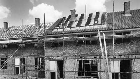 Partially-constructed houses at Bandley Hill in Stevenage in 1958