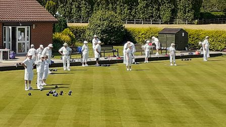 Bowlers on the green at Shire Park Bowls Club